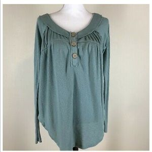 Free People wood button piped adorbs ribbed shirt